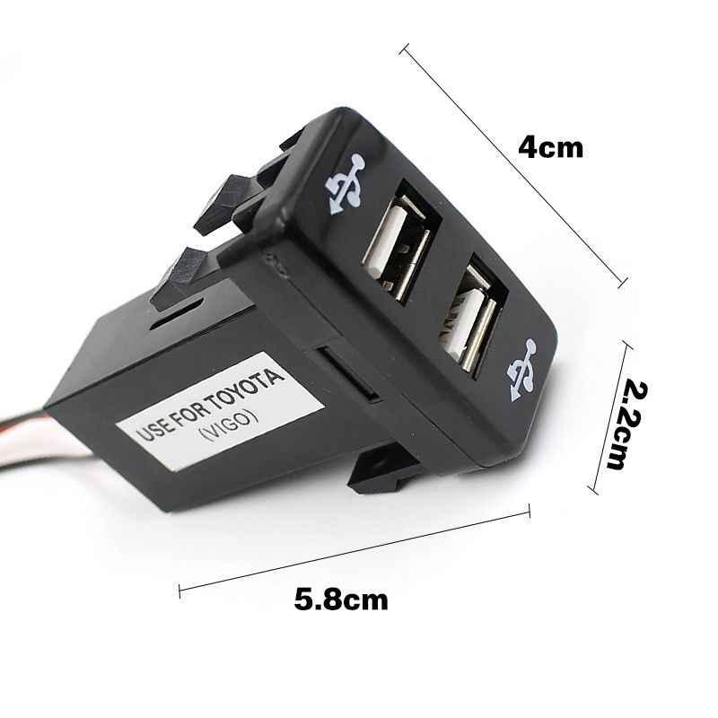 Car 12V 5V 3.3A Dual USB Ports Dashboard Mount Charger For TOYOTA VIGO LKQ0214