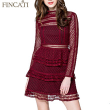 Spring Summer Brand Dress 2017 Cascading Layers Wine Color Stand Collar Mini Slim Sexy Lace Hollow Out Long Sleeve Cake Dresses