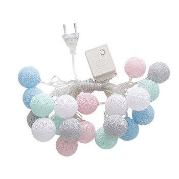 3,55 м 20 светодиодов Строка Огни хлопка шары из ниток домашняя декорационная лампа для вечерние свадебные US/EU Plug рождественские украшения HUG