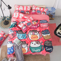 Home Textile Pink alphabet Bedding Set Cartoon Animal cat 3pcs Duvet Cover Sets quilt cover pillow cases High quality