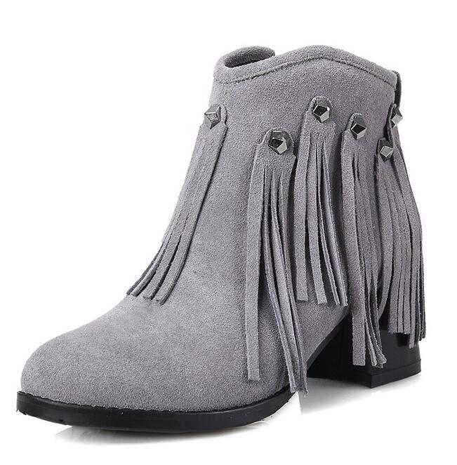 Women Autumn Winter Thick High Heel Genuine Leather Fringe Side Zipper Round Toe Rivets Fashion Ankle Boots Size 34-39 SXQ0826 women autumn winter genuine leather thick mid heel side zipper round toe 2015 new fashion ankle boots size 34 39 sxq0905