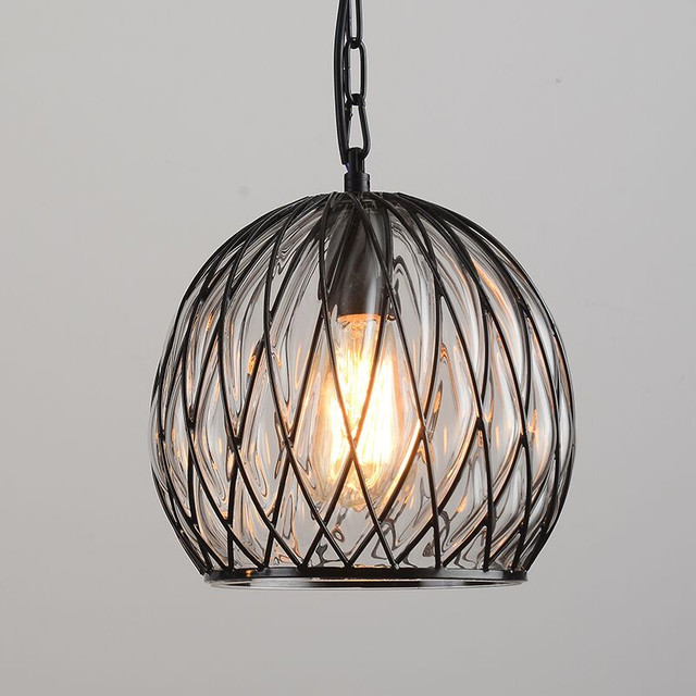 Glass globe pendant light iron round ball pendant lamp shade hanging lamp kitchen fixture luste home