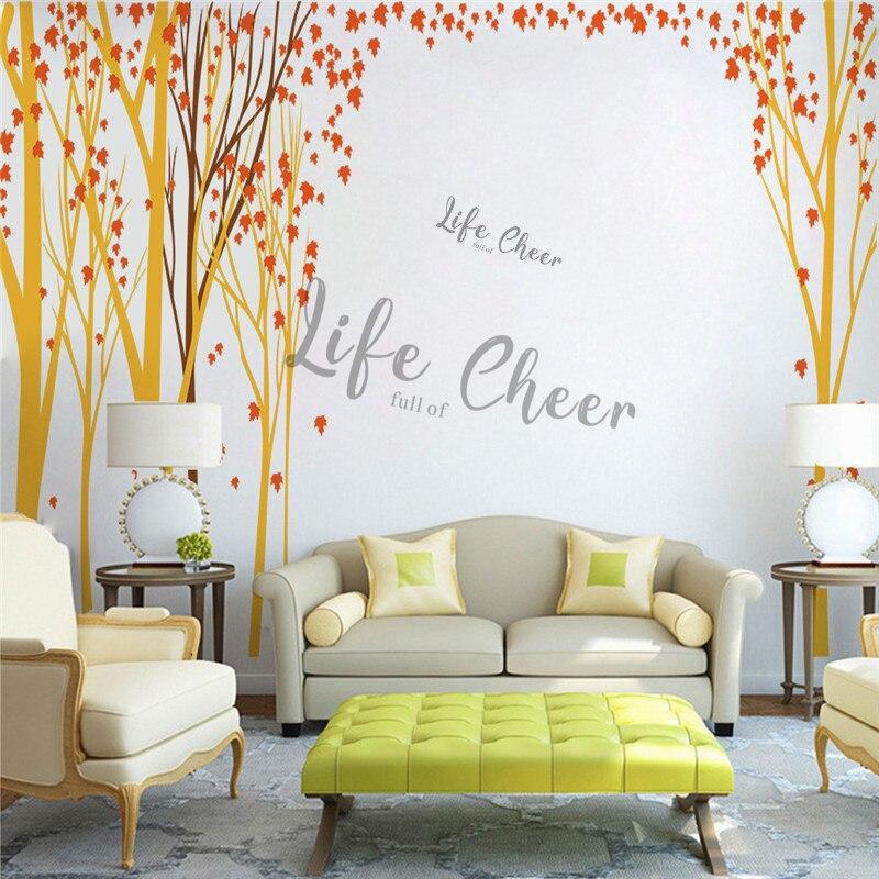 Folha de bordo árvore vinil adesivo parede do berçário decoração do quarto tema floresta arte decalques da parede crianças outono árvores ac242 - 6