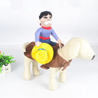 Funny Cowboy Riding Pet Dog Cat Clothes Novelty Costume For Christmas Party Knight Dress Up Apparel