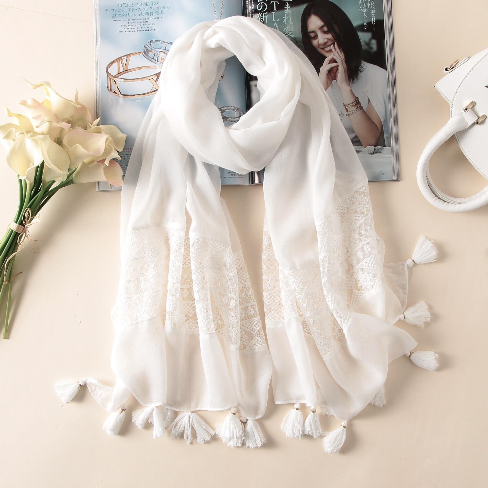 μάρκα 2018 άνοιξη καλοκαίρι γυναίκες κασκόλ μόδα λευκό δαντέλα μετάξι κασκόλ σάλια pashmina bandana θηλυκό foulard pareo παραλία