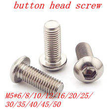 10pcs M5 Bolt A2-70 Button Head Socket Screw Bolt SUS304 Stainless Steel M5*(6/8/10/12/14/16/18/20/22/25/30/35/40/45/50) mm(China)