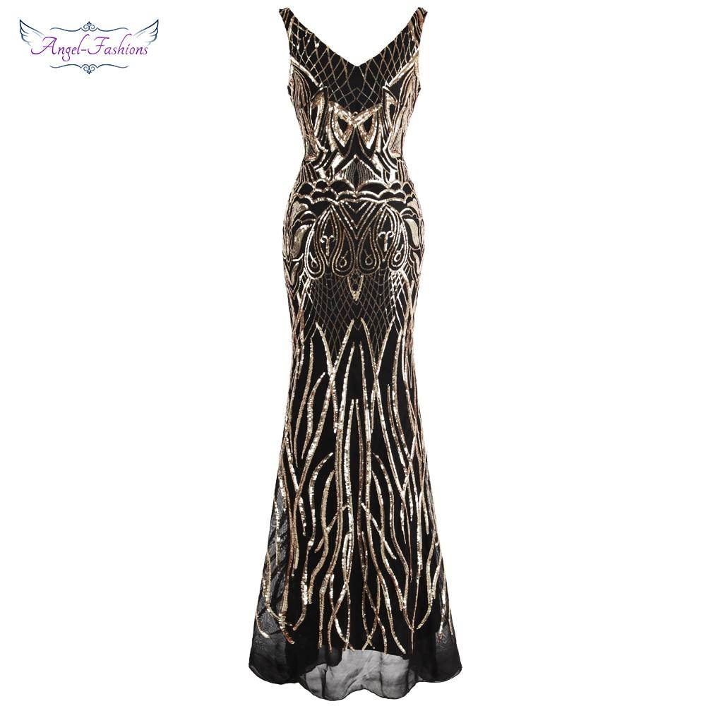 Angel fashions Women s V Neck Evening Dress Gold Sequin Vintage 1920S Flapper Dress Formal Party