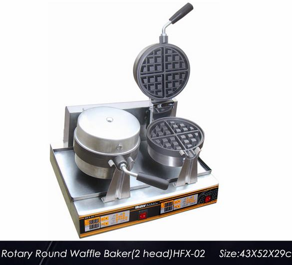 Free Shipping 220v Or 110v Commerical Rotary Two Round Plate Waffle Machine HFX-02Waffle Maker With Electronic Control Panel