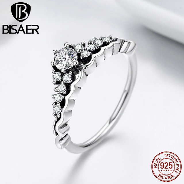 39cc996b2 100% 925 Sterling Silver Fairytale Tiara Ring Princess Crown Finger Rings  for Women 3 Size Rings Femme Engagement Ring Jewelry
