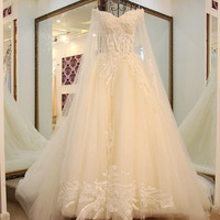 Elegant Princess Wedding Gowns with Long Cape Sweetheart Lace Up Back Lace Beading Bride Wedding Dress Long Train Custom Made