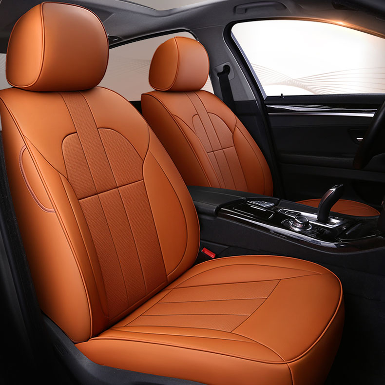 Custom 2 Pc Front Seat Car Seat Cover Cowhide Leather For