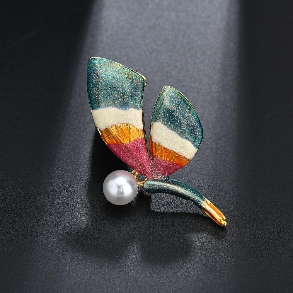 Terreau Кэти модные Винтаж ручной работы цинковый сплав, эмаль Красочные стрекоза жемчужные броши для Для женщин и броши