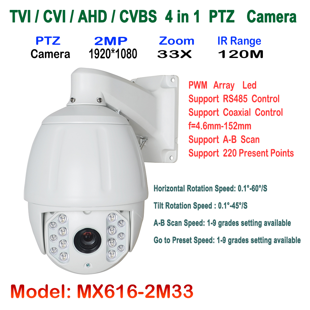 7 PTZ Middle High Speed Dome Camera 1080P Full HD 33X Zoom IR 120m Infrared Night Vision 4 in 1 HD AHD TVI CVI Signal Output top high speed full teeth piston