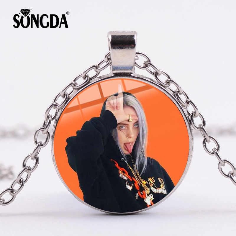Música hip hop billie eilish colar popular jovem cantor harajuku arte imagem hip-hop cúpula de vidro pingente gargantilha jóias