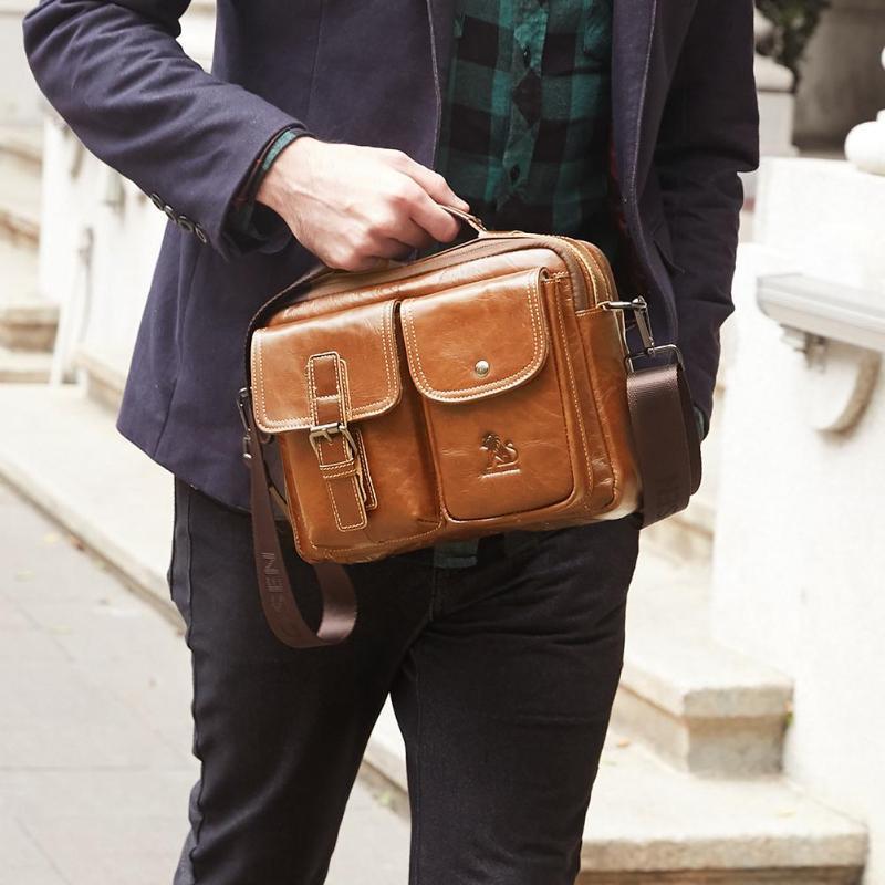 Men Business Briefcase Vintage Genuine Leather Laptop Messenger Bag Cowhide Big Capacity Tote Office Handbag Men Briefcase