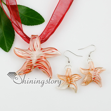 star fish glitter with lines lampwork murano Italian venetian handmade glass pendants and earrings cheap fashion jewellery