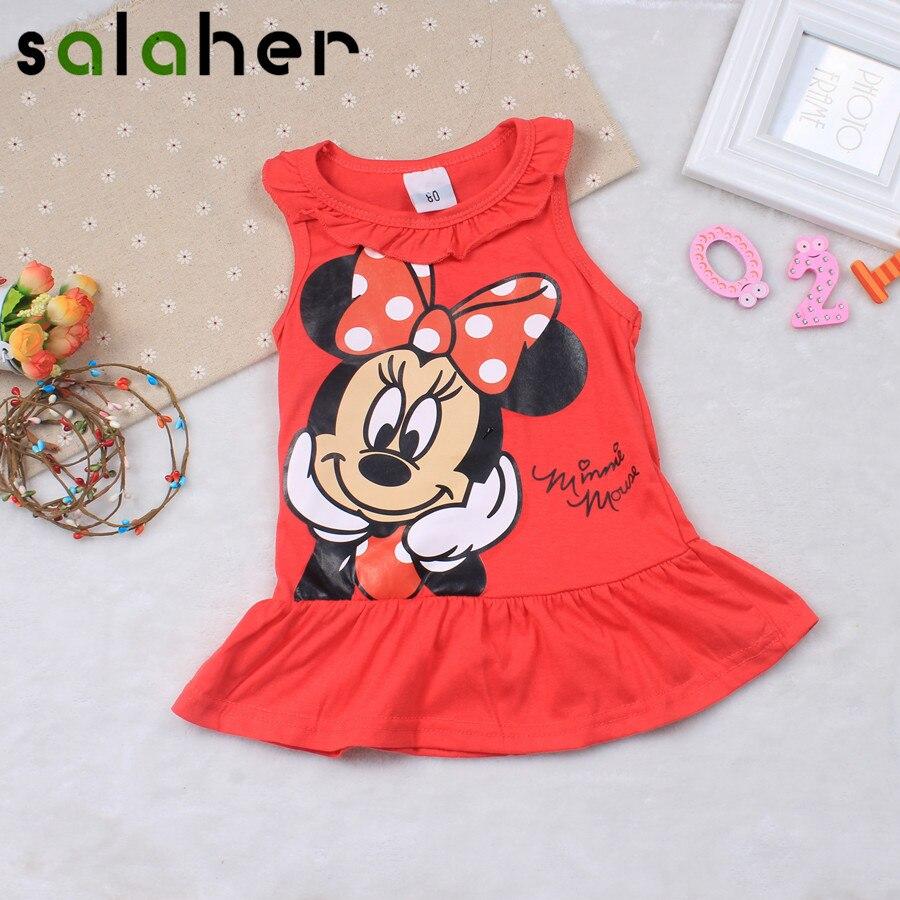 Salaher платья для маленьких девочек летняя одежда милые с Микки Маусом печати Хлопок без рукавов Платье для малышей для Обувь для девочек