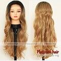 Atacado 180 densidade natural preto onda do corpo ombre cor marrom perucas sintéticas glueless dianteira do laço do cabelo sintético para mulheres