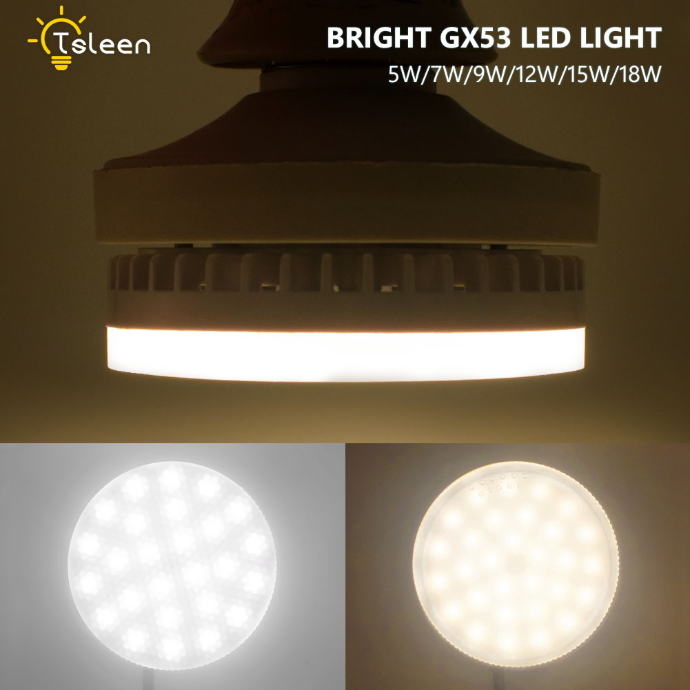 For Cabinet Showcase LED GX53 Lamp Light 12W 15W 18W GX53 light bulb smd2835 gx 53 AC 22 ...