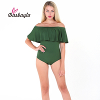 Dasbayla 2017 Summer Women Bodysuit Off The Shoulder Sexy Ruffle Rompers Solid Skinny Playsuits