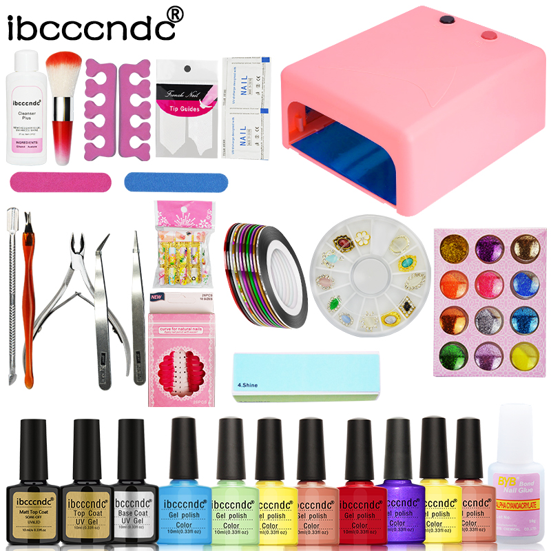 Nail Art Set Manicure Tools Kit 36W UV Lamp + 8 Color 10ml Gel Polish Base Matte Top Coat UV Gel with Remover Glitters Decals nail art manicure tools set uv lamp 10 bottle soak off gel nail base gel top coat polish nail art manicure sets