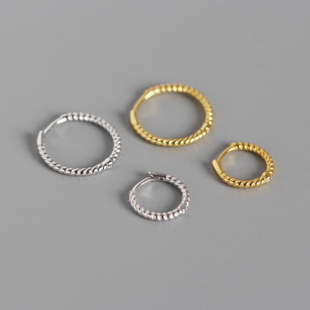 Twisted-Earrings Jewelry Hoop 925-Silver Women Round No Trendy Geometric 11mm 15mm Circle-Loop