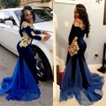 2017 Long Sleeves Black Girl Prom Dresses Elegant Scoop Floor Length Mermaid South African Blue Velvet Evening Dress Party