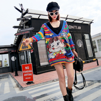 MUMUZI High Street Rainbow Color Striped Sweaters V neck Long Sleeve Cartoon Pattern Sequined Sweaters Ripped Knitted Tops