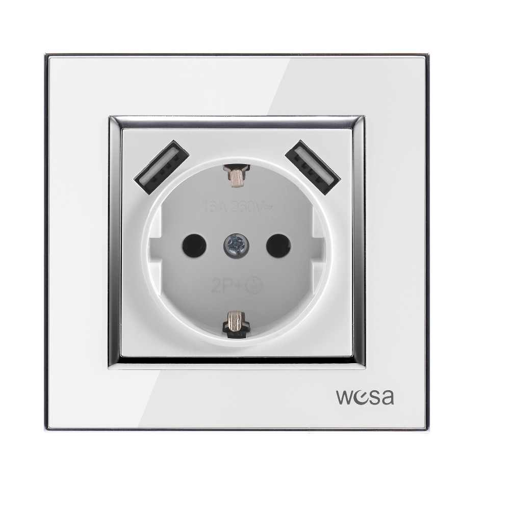 Wall USB socket with White acrylic patch frame Hot European standard wall adapter 5v 2A connector output with a USB socket