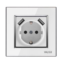 Wall USB socket with White acrylic patch frame Hot European standard wall adapter 5v 2A connector output a