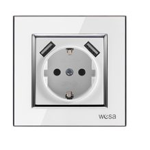 Wall USB socket with White acrylic patch frame Hot European standard wall adapter 5v 2A connector output with a USB socket(China)