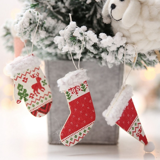 Us 03 9 Off1pc Christmas Hanging Ornament Xmas Tree Diy Wooden Christmas Hat Gloves Shoes Pendant Decoration For Home New Year Decor In Pendant