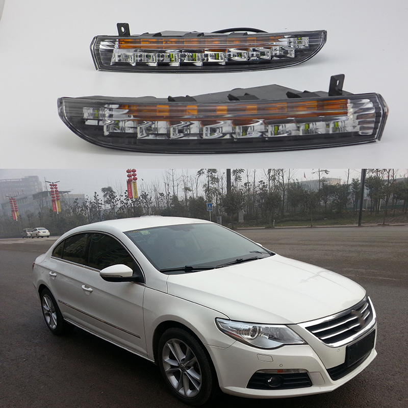 Car Flashing 1Pair DRL For Volkswagen Passat CC 2009 2010 2011 2012 DRL Daytime Running Lights