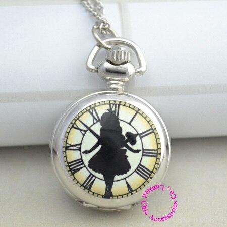 fashion silver enamel mirror black in wonderland roman clock girl alice pocket w