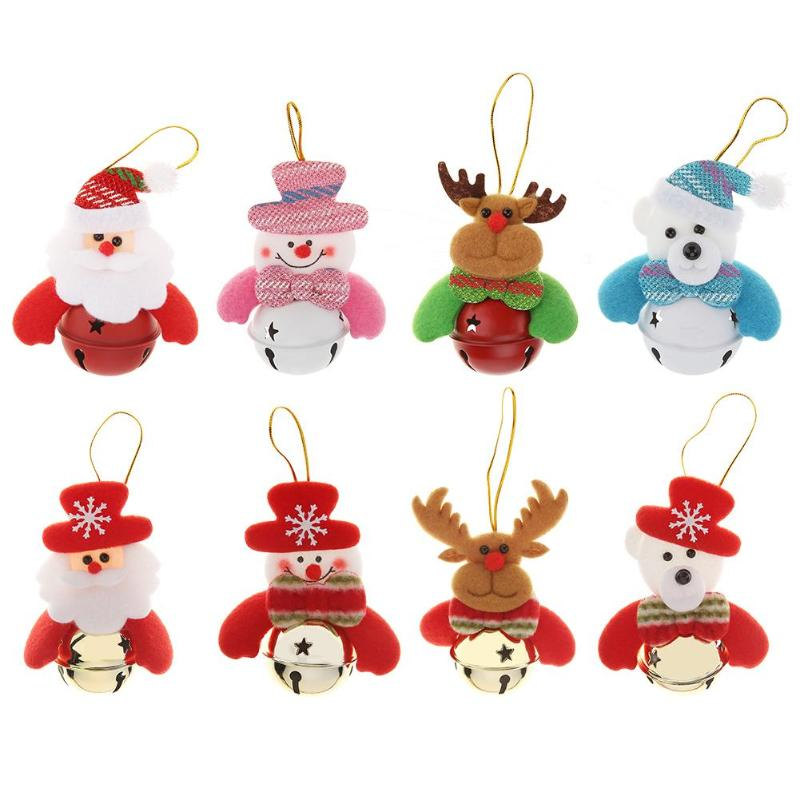 Cute Cartoon Christmas Doll Bell Hanging Ornament Xmas Tree Pendant New Year Christmas Decorations for Home Party Supplies