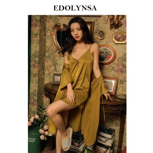 44f2d6ffba0b Nighties Women Pajamas Satin Sleepwear Pijama Silk Sexy Night Wear Lace  Home Robe Sleep Lounge Pyjama Yellow 2 Pieces H855