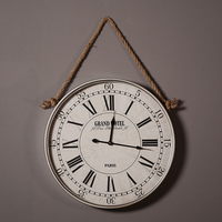 vintage hemp rope wall clock wall decoration clock retro iron art clock for living room or bars and cafes