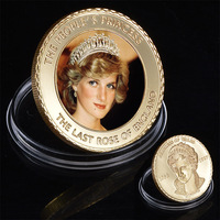 WR The Last Rose of England Princess Diana 24k Gold Coin Commemorative Gift Coins Metal Crafts Worth Collection