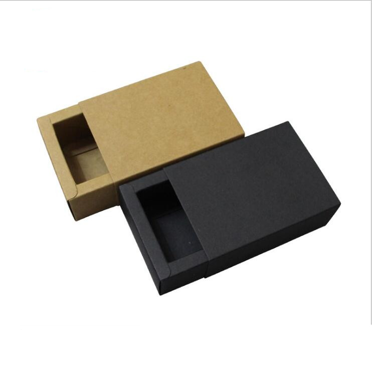 20pcs/lot-9*6*4cm Small Size Black Kraft Paper Drawer Box Handmade Soap Craft Jewel Packaging Party Gift Boxes