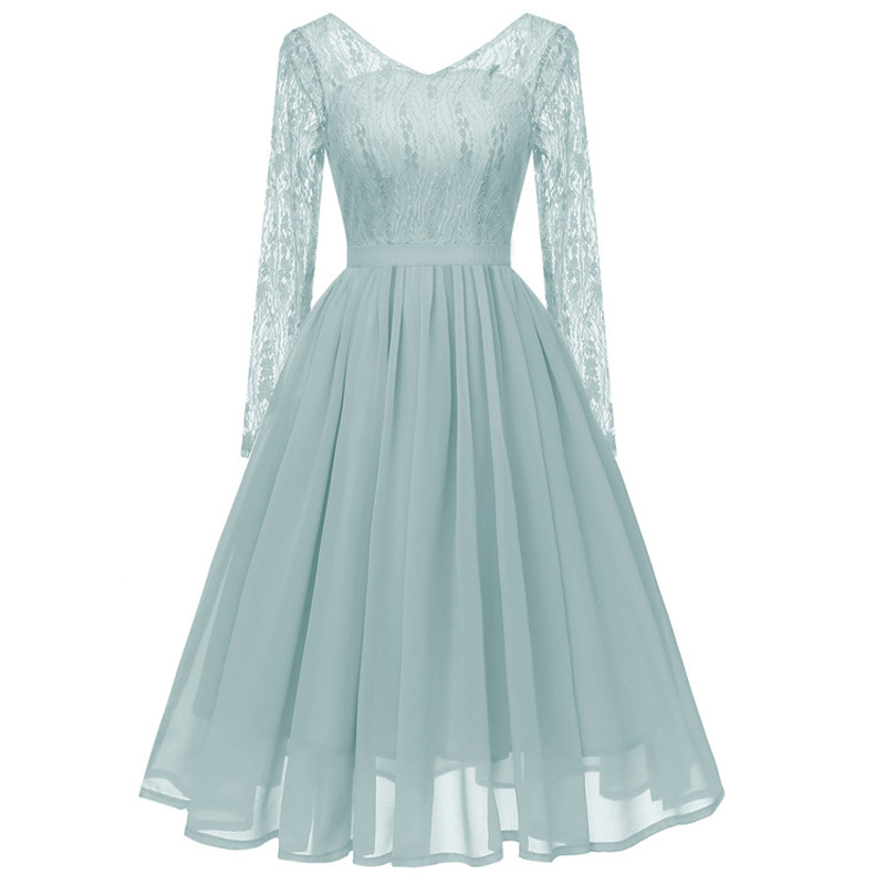 robe de soiree chiffon Short Evening Dress Sexy V neck Lace A-line Party Formal Dress Long sleeve evening gown dinner Dresses