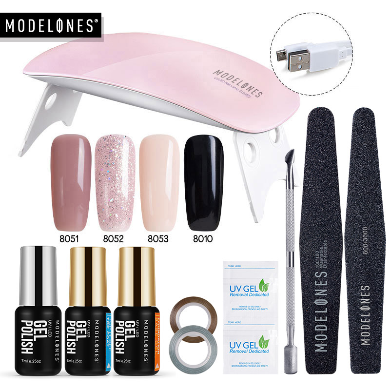 Modelones 11Pcs / Lot SUNmini UV lampe Beigner Practice Nail Art Tools DIY Nail Design UV Nail Manicure Kit Enhver 4 Farger Gel In Set