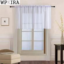 Window Voile Drapes Roman Tulle Kitchen Pure Color Simple Sheer Short Curtains Valance For bay Window Door Decoration 184&30(China)