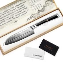 "SUNNECKO מקצועי 5 ""Santoku סכין יפני VG10 דמשק פלדת להב סכיני מטבח G10 ידית ירקות בשר מבצע"