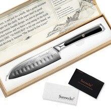 """SUNNECKO Professional 5"""" Santoku Knife Japanese VG10 Core Damascus Steel Blade Kitchen  Knives G10 Handle Vegetable Meat Slicer"""