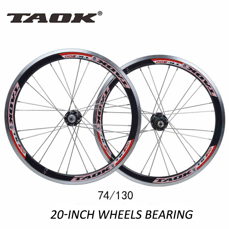 TAOK 20'' 24 Holes 406 Folding Bikes Bicycles V brake Wheel Wheelset Rim 74mm 130mm Parts  bearing wheels 406