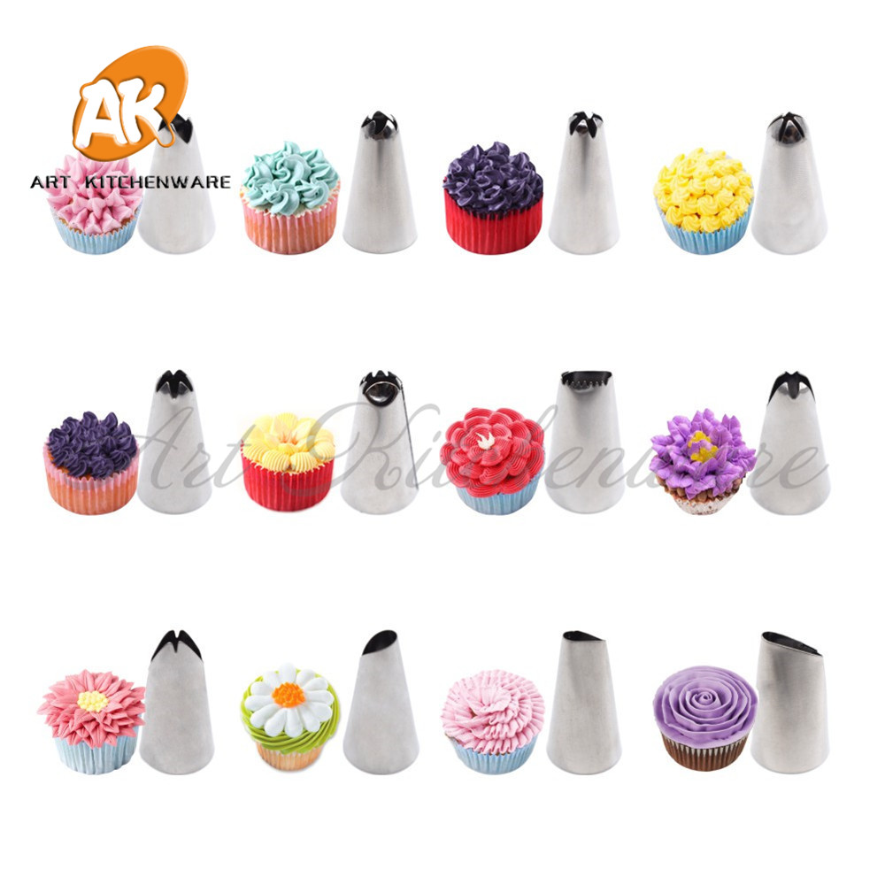 35pcs Design Cake Icing Piping Nozzles Tips R Adapter Pastry Bag Silicone Tools Cupcake Cups Brush In Decorating Tip Sets From