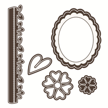 Eastshape 5pcs/lot Flower Border Dies Scrapbooking Oval Frame Lace Edge For Card Making Craft Metal Cutting New Arrival