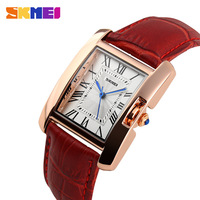 New 2015 Rose Gold Watch Women Leather Band Square Dial Quartz Analog Wrist Watch Fashion Luxury