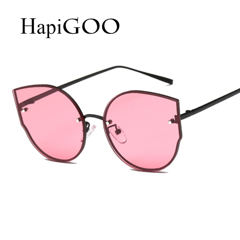 HAPIGOO Fashion Lady Cat Eye Rimless Clear Sunglasses