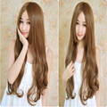 70cm New Sexy Long Wavy kylie jenner Wig Brown Curly Synthetic Freetress Hair Middle Part Wigs for Womens Perruque Cosplay